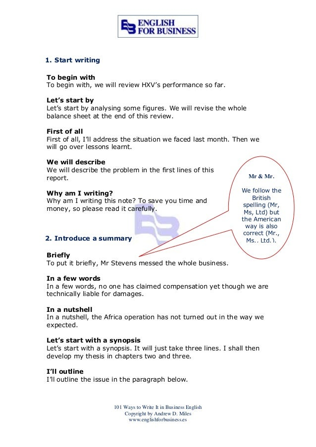 101 ways to write it in business english