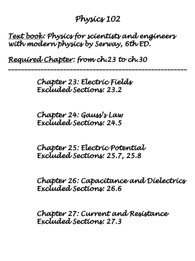 physics 102 A non-advancing course in physics for students interested in acquiring an understanding of the basic principles of physics and their application to the description of everyday phenomena, stressing the conceptual understanding of overarching physical ideas.