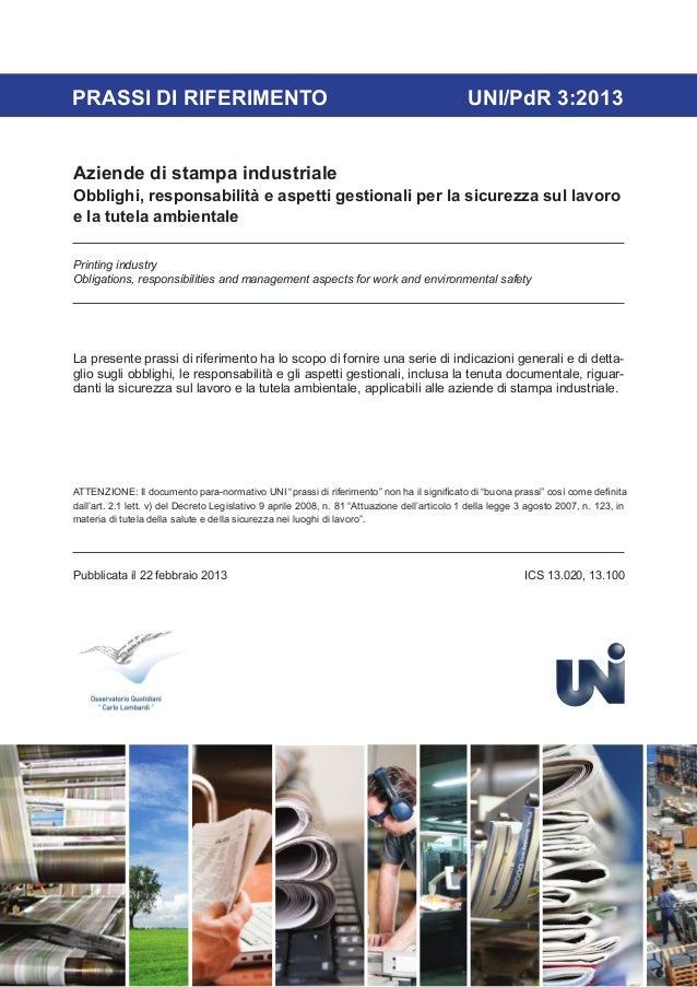 PRASSI DI RIFERIMENTO                                                                         UNI/PdR 3:2013Aziende di sta...