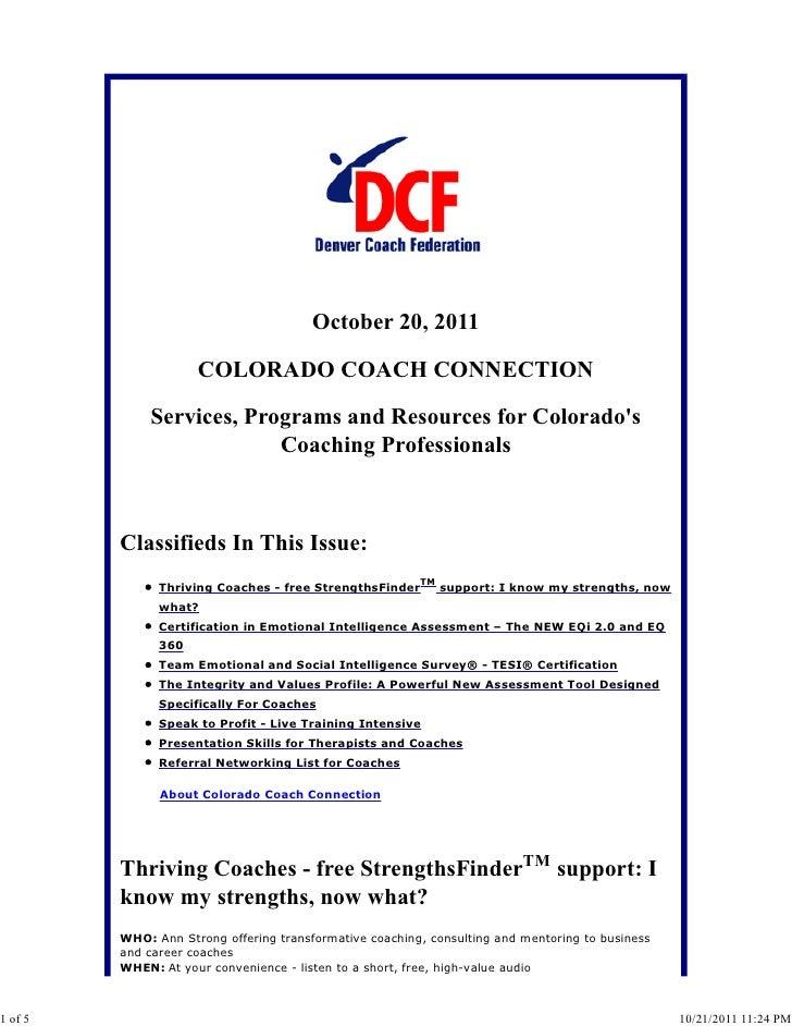 October 20, 2011                     COLORADO COACH CONNECTION             Services, Programs and Resources for Colorados ...