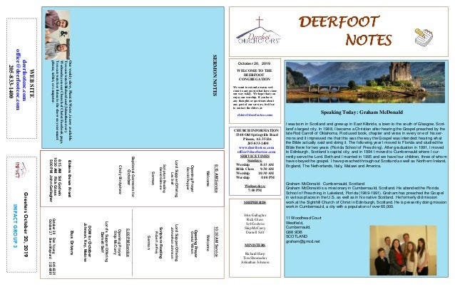 DEERFOOTDEERFOOTDEERFOOTDEERFOOT NOTESNOTESNOTESNOTES October 20, 2019 GreetersOctober20,2019 IMPACTGROUP3 WELCOME TO THE ...