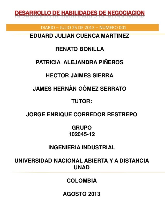 DESARROLLO DE HABILIDADES DE NEGOCIACION EDUARD JULIAN CUENCA MARTINEZ RENATO BONILLA PATRICIA ALEJANDRA PIÑEROS HECTOR JA...