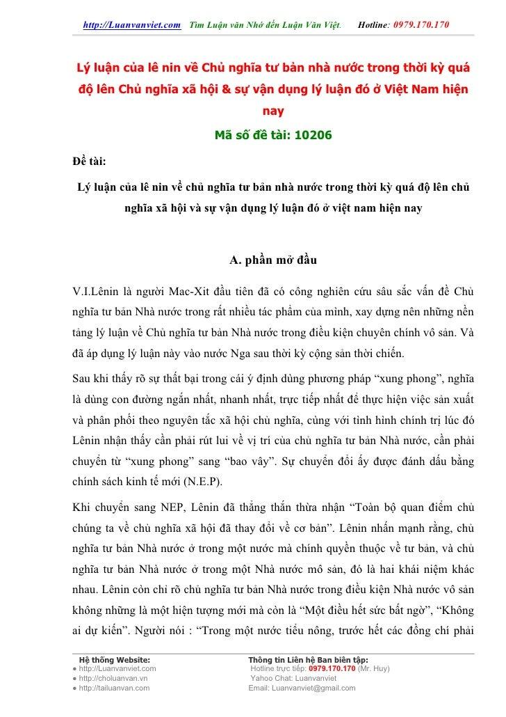 http://Luanvanviet.com Tìm Luận văn Nhớ đến Luận Văn Việt.          Hotline: 0979.170.170     Lý luận của lê nin về Chủ ng...