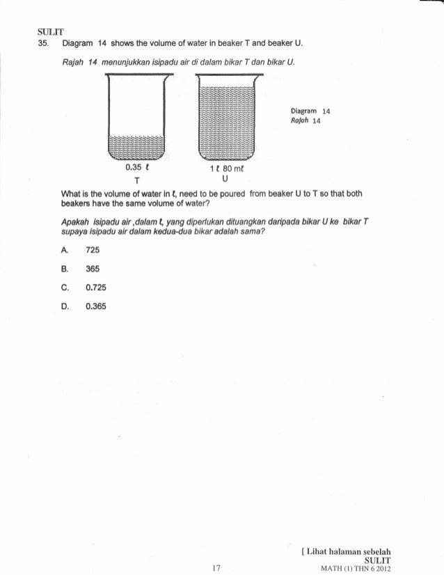 SULru  35. Diagram  Rajah 14  14 shows the volume of water in beaker T and beaker U.  menunjukkan isipadu air di dalam bik...
