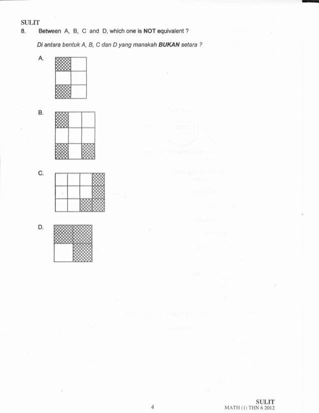"-  SULTT  8"" Between A, B, C and D, which one is NOT equivalent ?  Diantara bentuk A, B, C dan D yang manakah BUKAN *tan ?..."