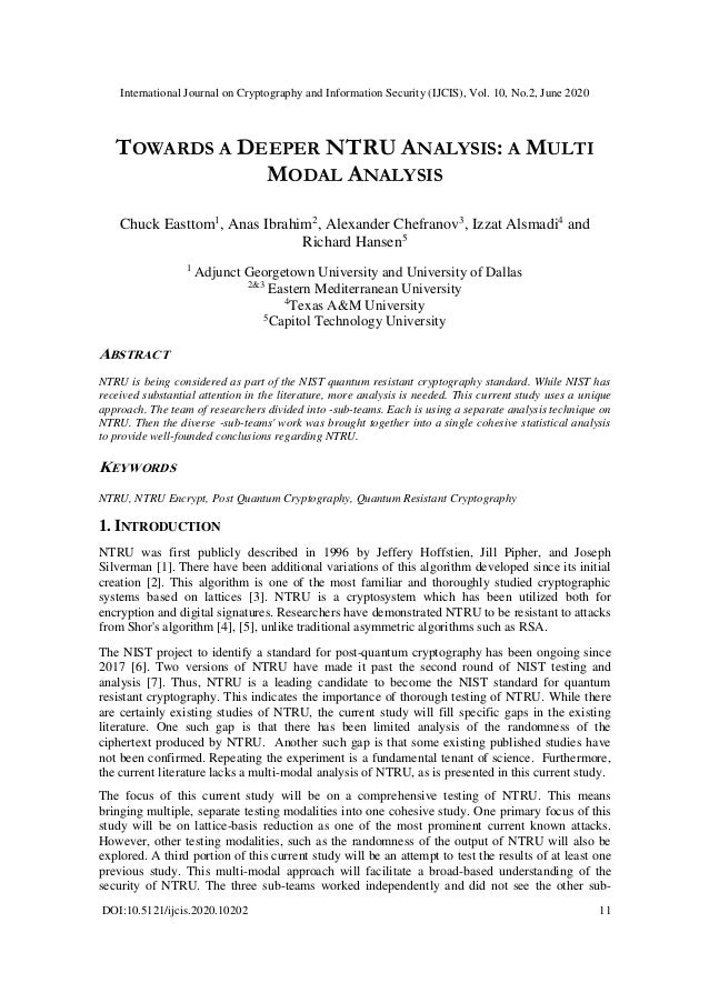 International Journal on Cryptography and Information Security (IJCIS), Vol. 10, No.2, June 2020 DOI:10.5121/ijcis.2020.10...