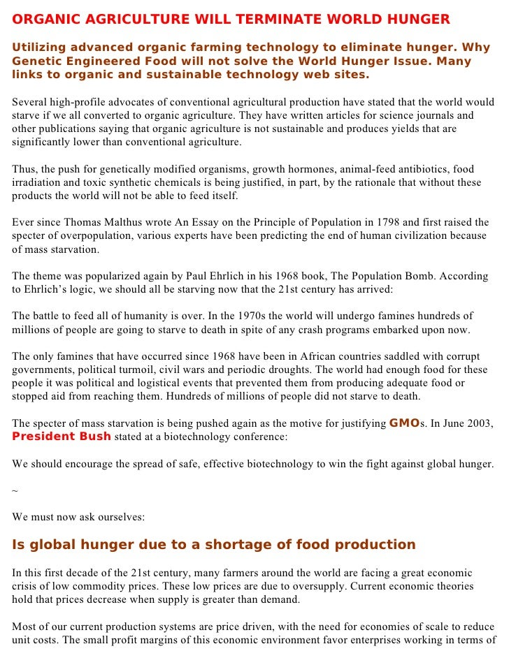 organic agriculture will terminate world hunger organic agriculture will terminate world hungerutilizing advanced organic farming technology to eliminate hunger