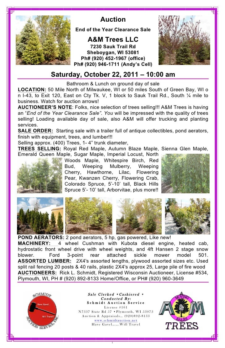 Auction                          End of the Year Clearance Sale                                A&M Trees LLC              ...
