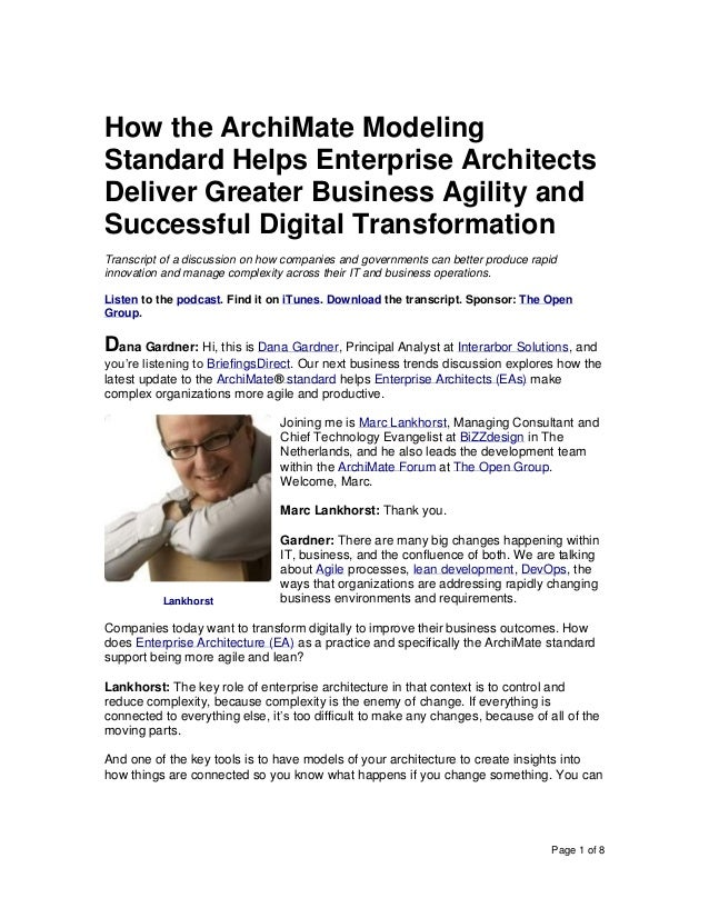 Page 1 of 8 How the ArchiMate Modeling Standard Helps Enterprise Architects Deliver Greater Business Agility and Successfu...
