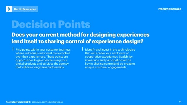 Technology Vision 2020 | accenture.com/technologyvision #TECHVISION2020The I in Experience 14 ⎮ Find points within your cu...