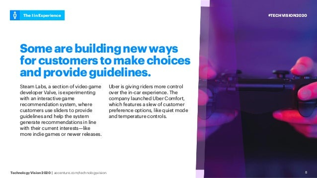 #TECHVISION2020The I in Experience Technology Vision 2020 | accenture.com/technologyvision 8 Somearebuildingnewways forcus...