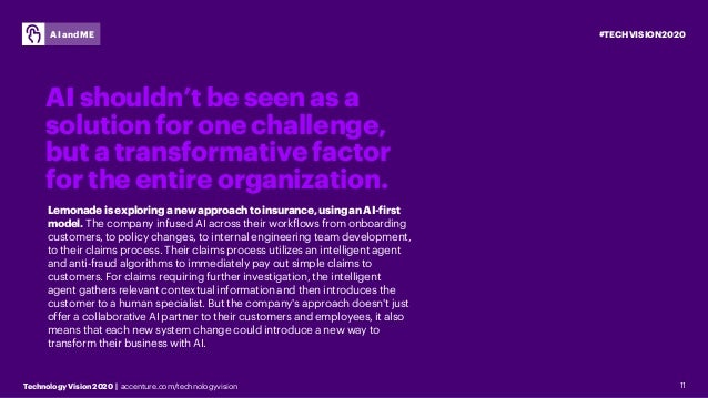 #TECHVISION2020 Technology Vision 2020 | accenture.com/technologyvision AI and ME 11 AI shouldn't be seen as a solution fo...