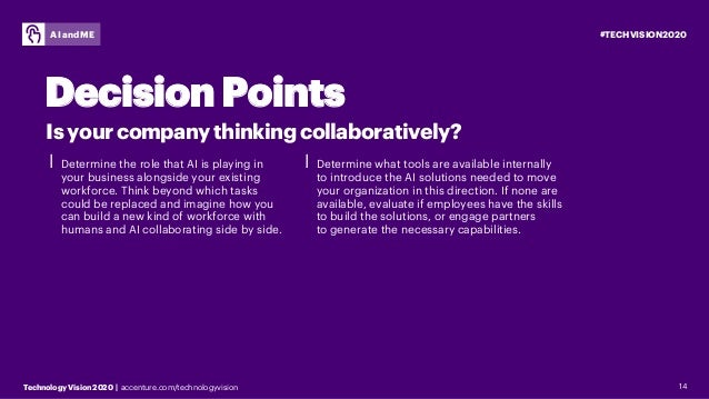 #TECHVISION2020 Technology Vision 2020 | accenture.com/technologyvision AI and ME 14 ⎮ Determine the role that AI is playi...