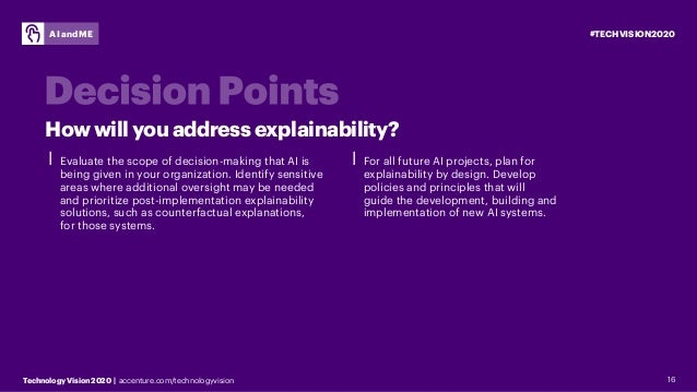 #TECHVISION2020 Technology Vision 2020 | accenture.com/technologyvision AI and ME 16 ⎮ Evaluate the scope of decision-maki...
