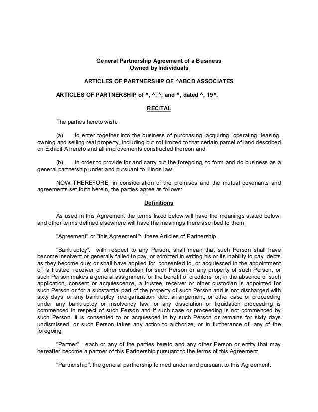 General Partnership Agreement Of A Business Owned By Individuals ARTICLES  OF PARTNERSHIP OF ^ABCD ASSOCIATES ...