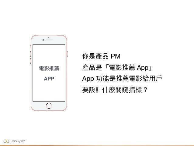 你是產品 PM 產品是「電影推薦 App」 App 功能是推薦電影給⽤用⼾戶 要設計什什麼關鍵指標? 電影推薦 APP