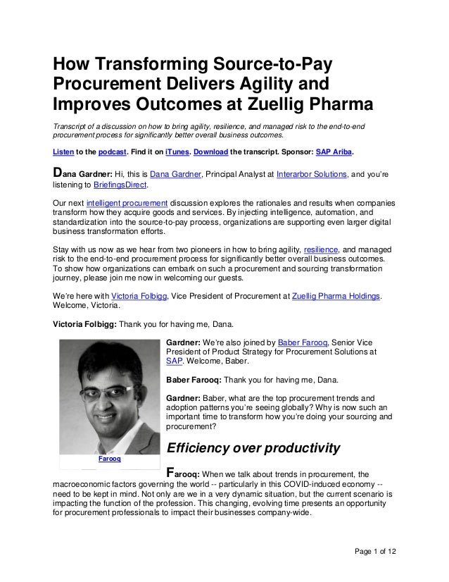 Page 1 of 12 How Transforming Source-to-Pay Procurement Delivers Agility and Improves Outcomes at Zuellig Pharma Transcrip...