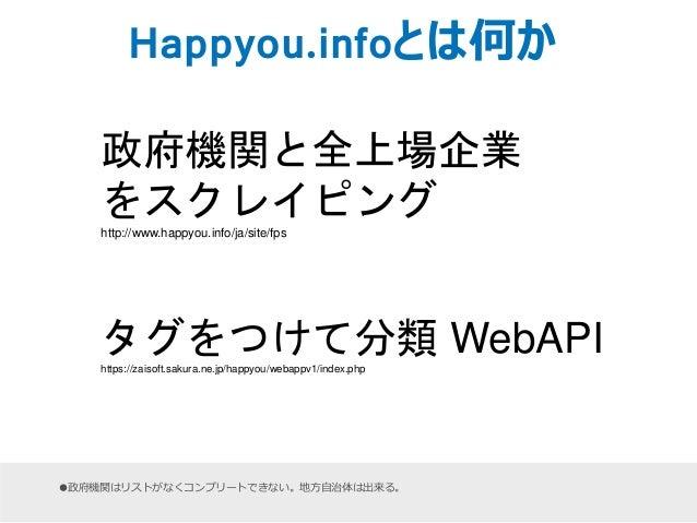 Happyou.infoとは何か  政府機関と全上場企業  をスクレイピング  http://www.happyou.info/ja/site/fps  タグをつけて分類WebAPI  https://zaisoft.sakura.ne.jp/...