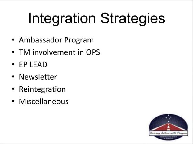 • Ambassador Program • TM involvement in OPS • EP LEAD • Newsletter • Reintegration • Miscellaneous Integration Strategies