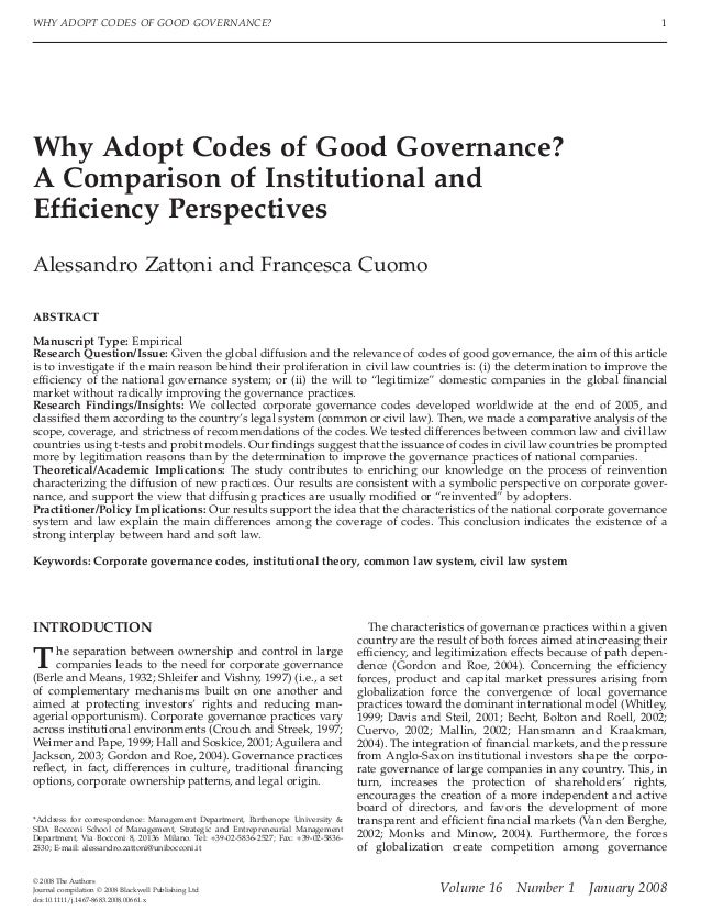 WHY ADOPT CODES OF GOOD GOVERNANCE?                                                                                       ...