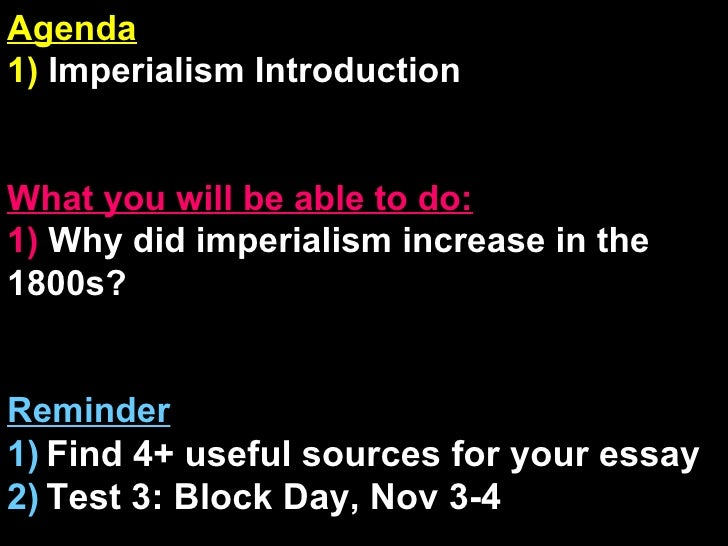 introduction to imperialism essay How to write a dbq essay on imperialism sometimes a teacher,  there is no indication of an introduction or conclusion to frame ideas you should ensure.