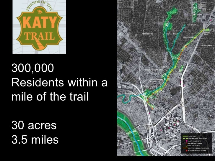 300,000  Residents within a  mile of the trail 30 acres 3.5 miles