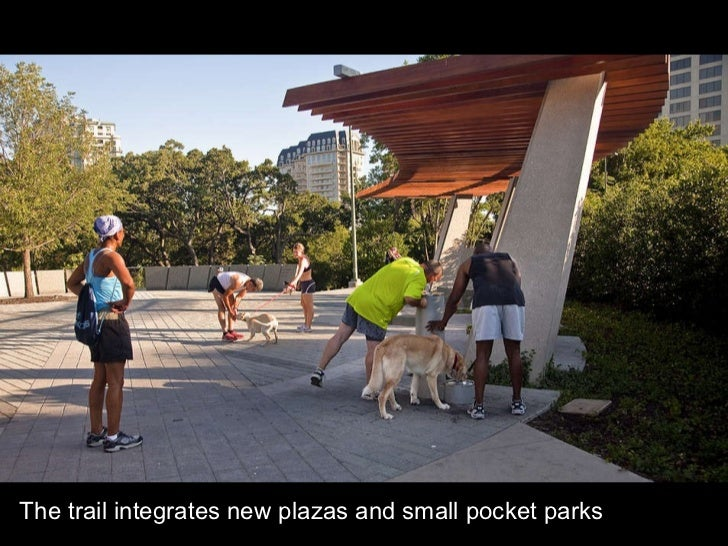 The trail integrates new plazas and small pocket parks