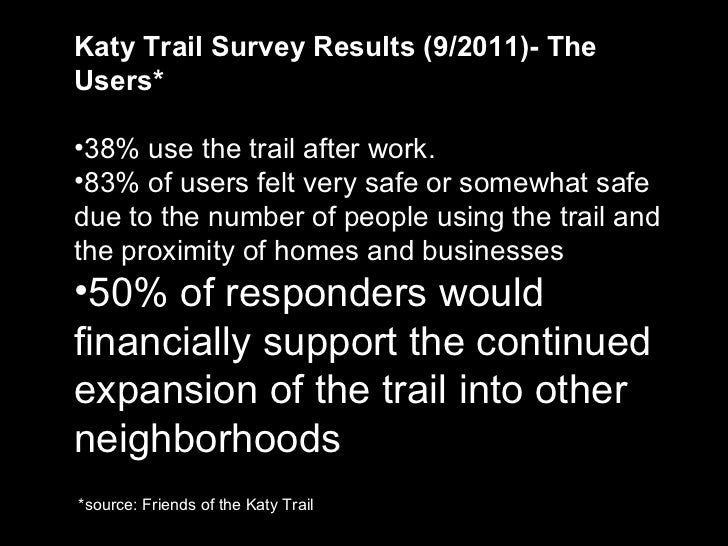 <ul><li>Katy Trail Survey Results (9/2011)- The Users* </li></ul><ul><li>38% use the trail after work. </li></ul><ul><li>8...