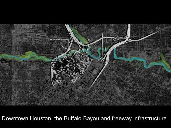 Downtown Houston, the Buffalo Bayou and freeway infrastructure