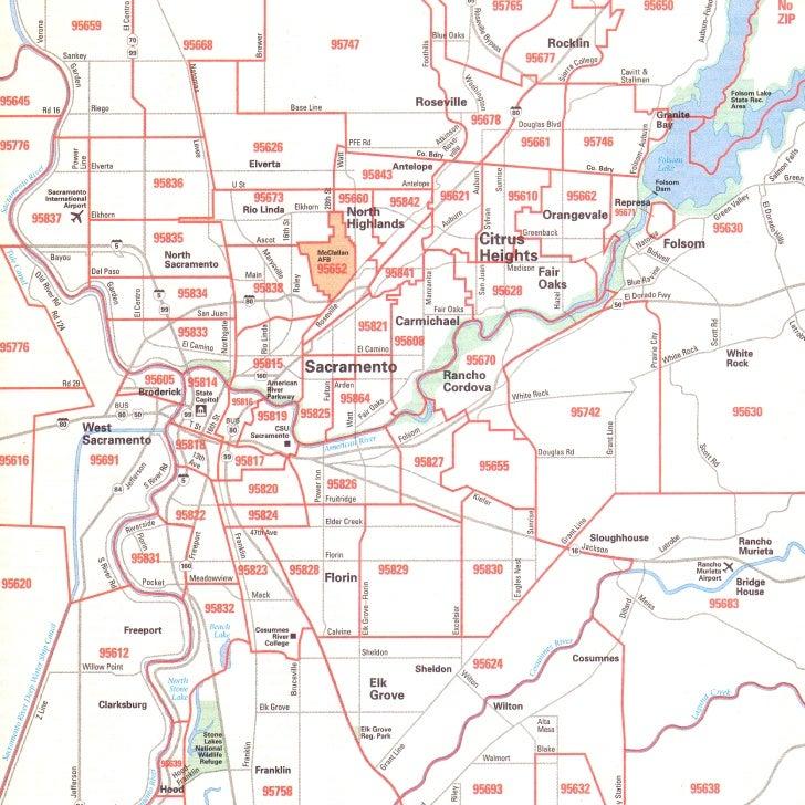 Sacramento California Zip Code Map.Sacramento By Zip Code Map Creativehobby Store
