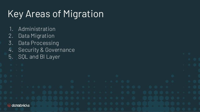 Key Areas of Migration 1. Administration 2. Data Migration 3. Data Processing 4. Security & Governance 5. SQL and BI Layer