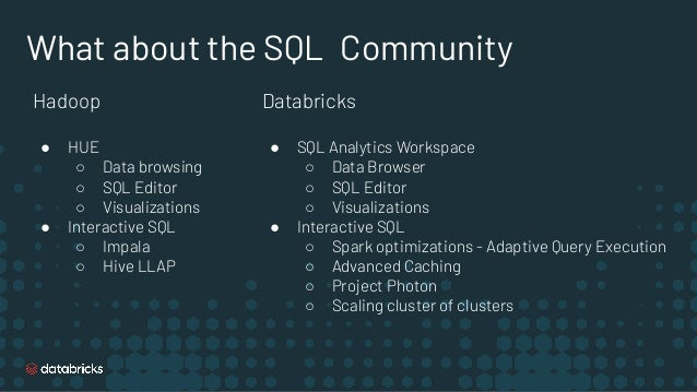 SQL & BI Layer Optimized SQL and BI Performance BI Integrations Tuned - Fast queries with Delta Engine on Delta Engine. - ...