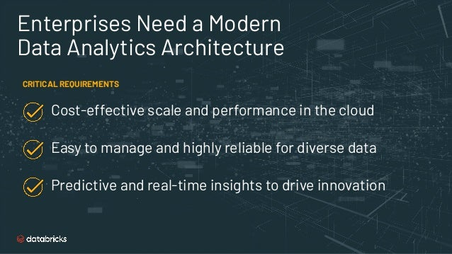 Enterprises Need a Modern Data Analytics Architecture CRITICAL REQUIREMENTS Cost-effective scale and performance in the cl...