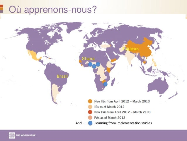 And … Learning fromImplementationstudies Brazil Ghana Pakistan Où apprenons-nous?