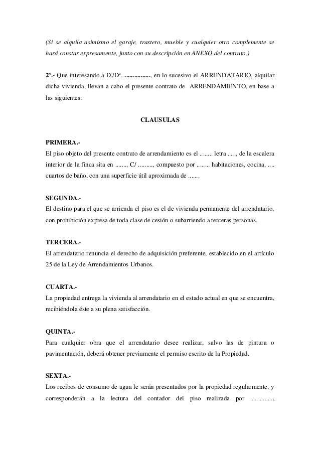 Modelo contrato arrendamiento for Contrato alquiler plaza garaje