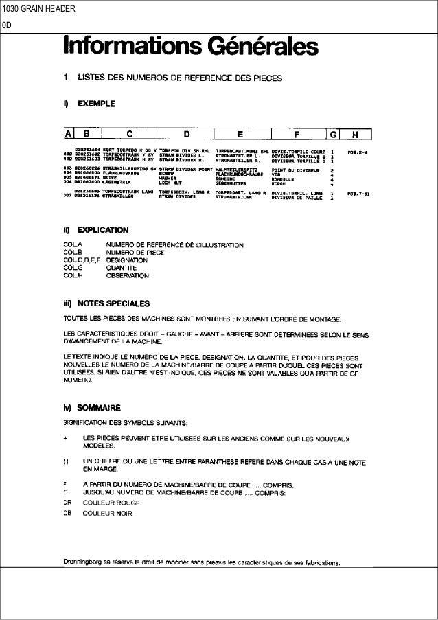 CASE 1030 Grain header parts catalog