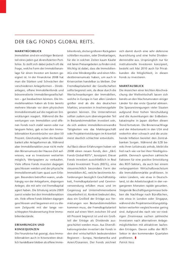 DER E&G FONDS GLOBAL REITS.MARKTRÜCKBLICK                                bilienfonds, die bei größeren Rückgaben     sich ...