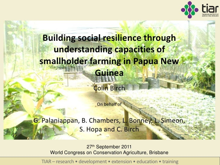 Building social resilience through    understanding capacities of smallholder farming in Papua New               Guinea   ...