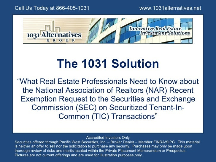 """The 1031 Solution """" What Real Estate Professionals Need to Know about the National Association of Realtors (NAR) Recent Ex..."""