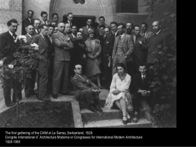 The first gathering of the CIAM at La Sarraz, Switzerland, 1928.Congrès International d'Architecture Moderne or Congresses...