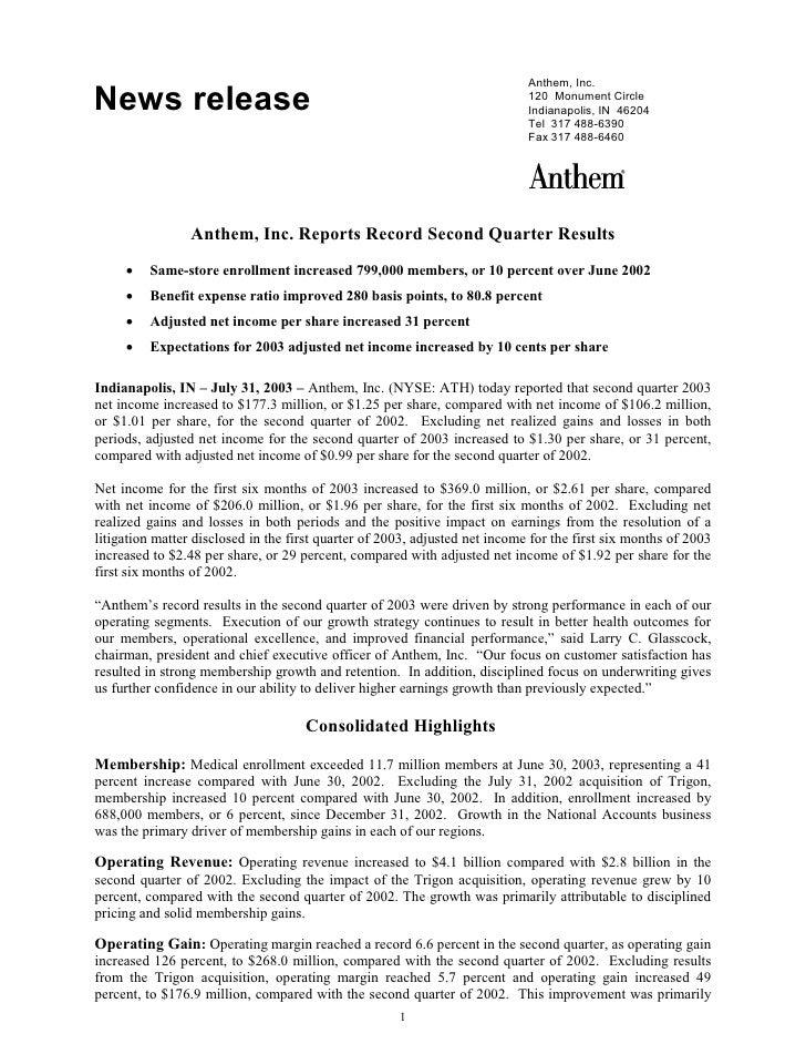 Anthem, Inc. News release                                                                 120 Monument Circle             ...