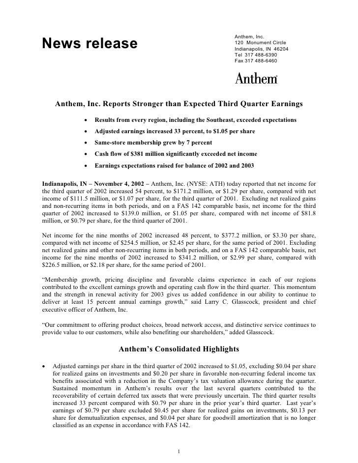 Anthem, Inc. News release                                                               120 Monument Circle               ...