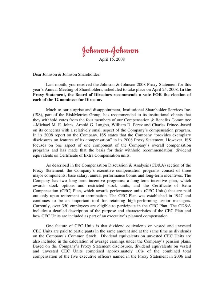 April 15, 2008   Dear Johnson & Johnson Shareholder:         Last month, you received the Johnson & Johnson 2008 Proxy Sta...