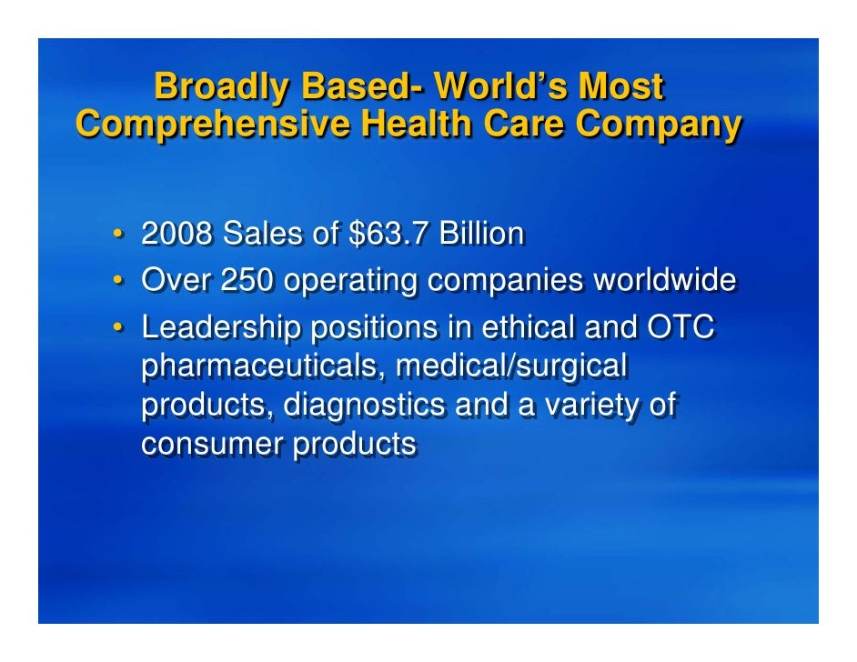 a company overview of johnson and johnson Johnson & johnson is a holding company, which engages in the research and development, manufacture and sale of products in the health care field.