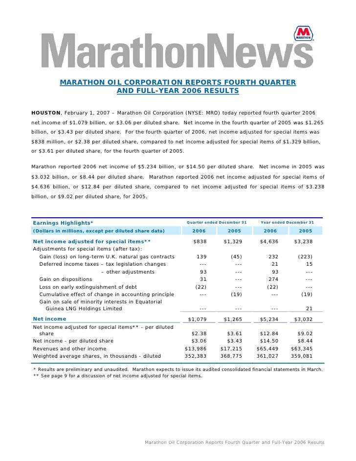 MARATHON OIL CORPORATION REPORTS FOURTH QUARTER                       AND FULL-YEAR 2006 RESULTS   HOUSTON, February 1, 20...