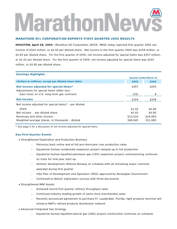 MARATHON OIL CORPORATION REPORTS FIRST QUARTER 2005 RESULTS  HOUSTON, April 28, 2005 –Marathon Oil Corporation (NYSE: MRO)...
