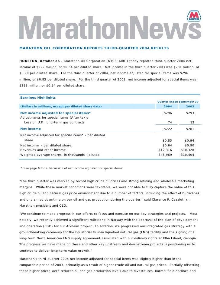 MARATHON OIL CORPORATION REPORTS THIRD-QUARTER 2004 RESULTS   HOUSTON, October 26 – Marathon Oil Corporation (NYSE: MRO) t...