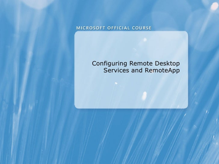 Remote Desktop Services and Virtual Desktop infrastructure