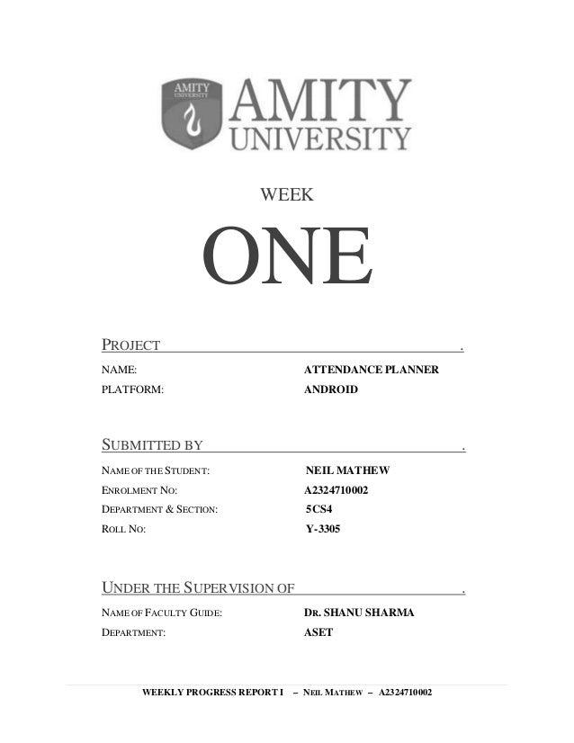 amizoner weekly progress reports