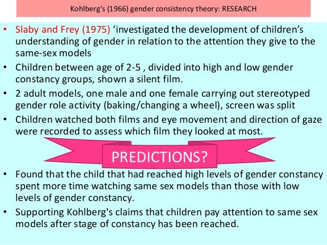 Kohlberg's (1966) gender consistency theory: RESEARCH • Slaby and Frey (1975) 'investigated the development of children's ...